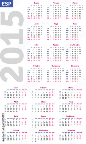 Spanish calendar 2015, vertical and horizontal calendar grid
