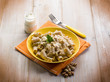 pasta with fish ragout pistachio and cream sauce