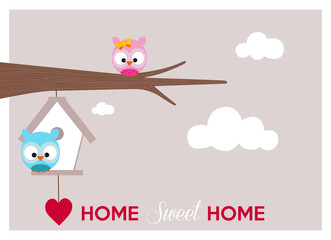 home sweet home, a couple of owls near their cozy nest