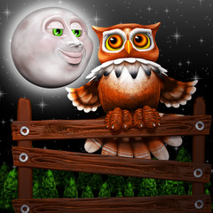 Owl on Wood and Surreal Smiling Moon on the Night 3d