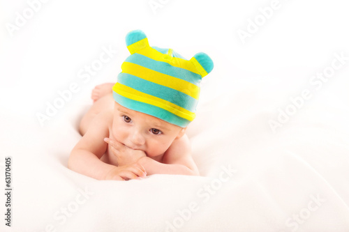 portrait of baby boy on white background