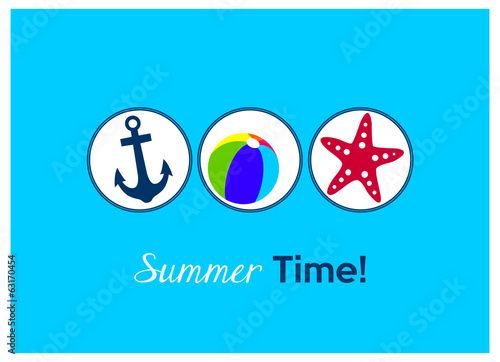 summer time! colorful anchor, beach ball and starfish