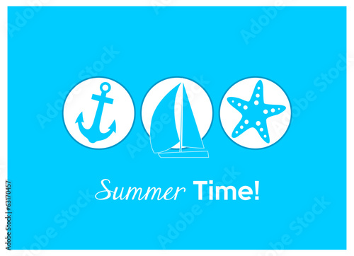 summer time! anchor, sailing boat and starfish