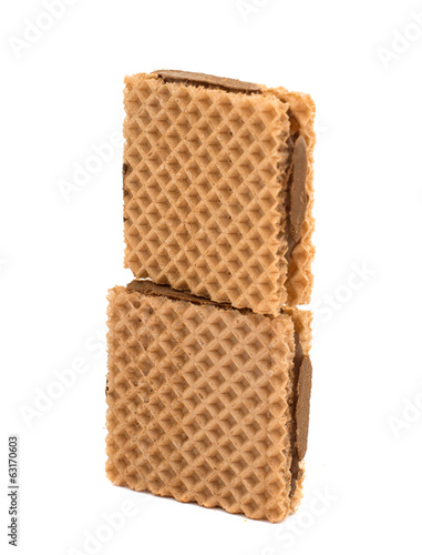 chocolate waffles isolated