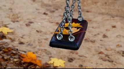 Swing with maple leaves