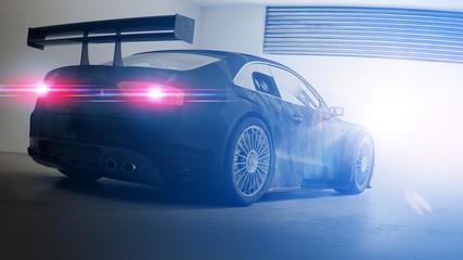 Tourenwagen Rennwagen in Garage 3D