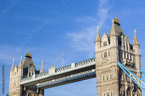 Tower Bridge in London with blue sky