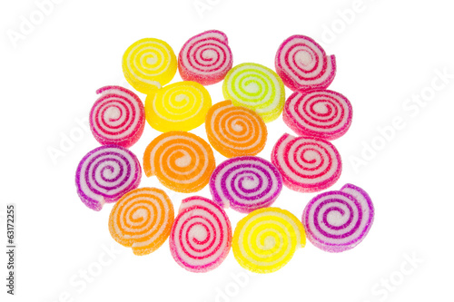 colorful spiral jelly on white background