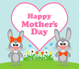 Happy Mother's day background card with rabbit