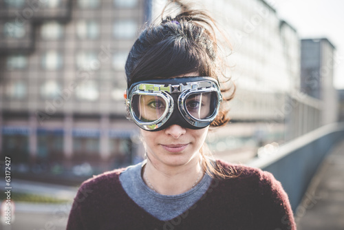 young beautiful hipster woman success aviator glasses
