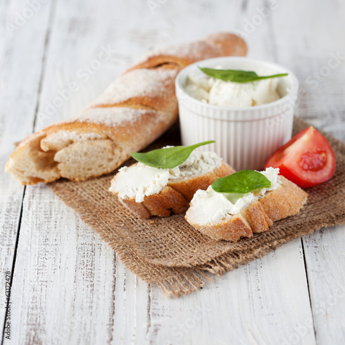 Baguette and cream cheese
