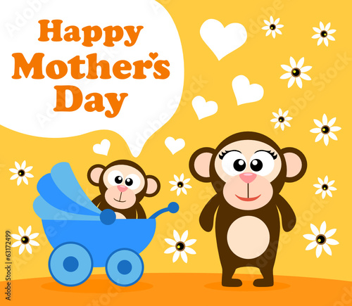 Mother's day background card with monkey