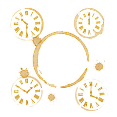 Coffee Tea Time Ring Stains and Clocks