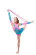 Cute little gymnast practicing with skipping rope