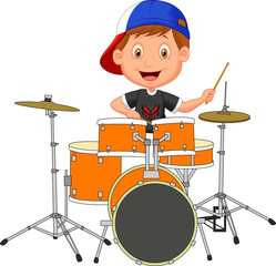 Little boy playing drum