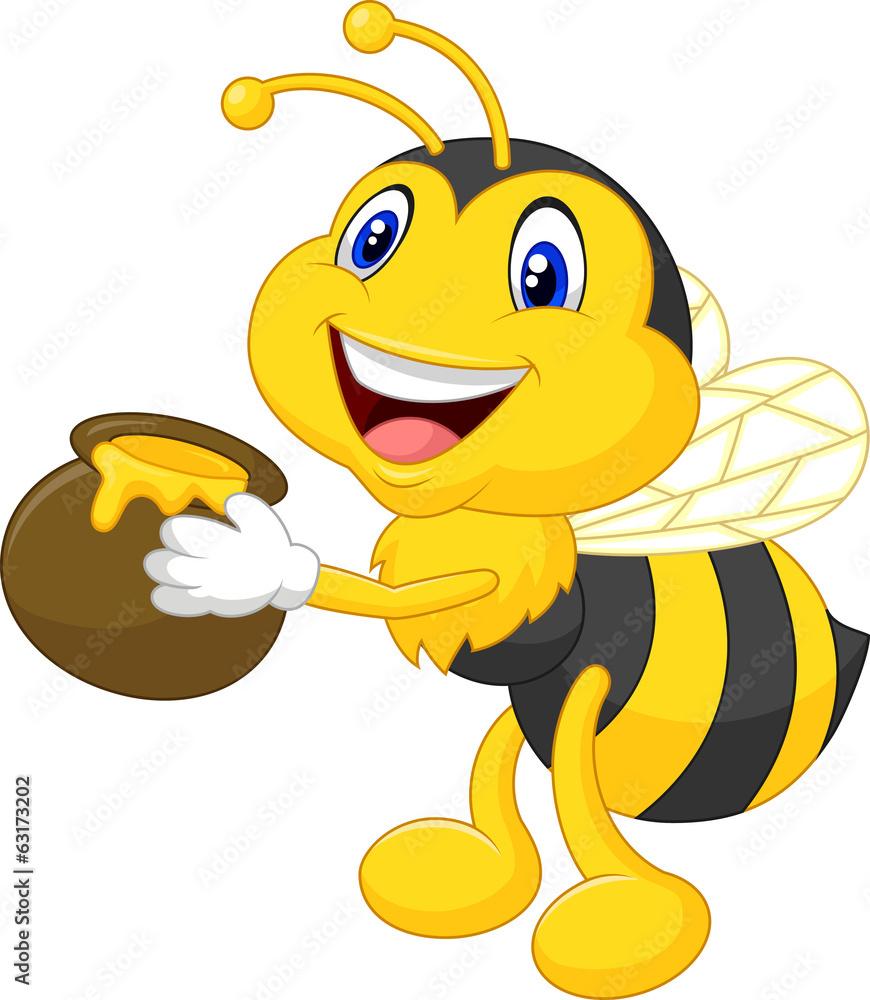 Bee Cartoon Holding Honey Bucket Wall Sticker | Wall Stickers