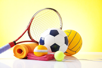 Sport equipment and diet concept