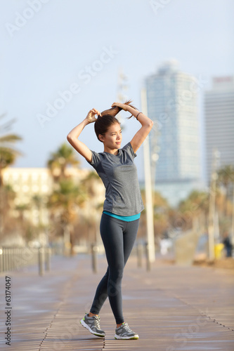 Runner woman running, Barcelona Beach Barceloneta