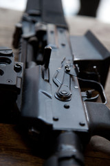 Close-up of automatic weapon