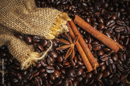Spices on coffe beans