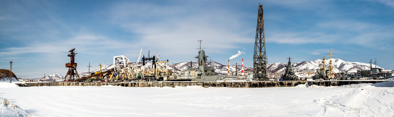 Naval vessels on the Petropavlovsk-Kamchatsky port
