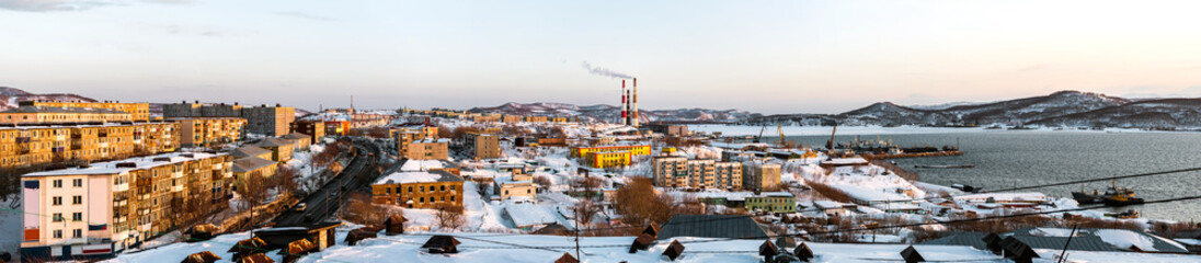 Panorama of Petropavlovsk-Kamchatsky city. Far East, Russia