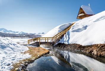 Hot spring of Nalichevo National Park. Kamchatka, Russia