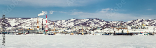 Panoramic view of Petropavlovsk-Kamchatsky seaport. Russia