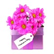 Happy Mothers Day tag with pink flowers and gift box over white
