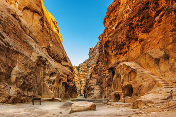 Cave dwellings in the canyon of Little Petra
