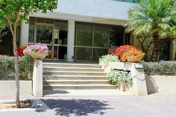 Entrance of an apartment building