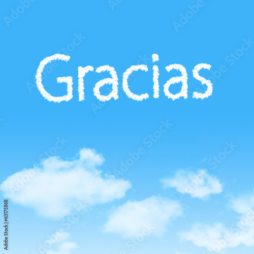 Gracias cloud icon with design on blue sky background