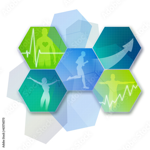canvas print picture Health and Fitness Icons