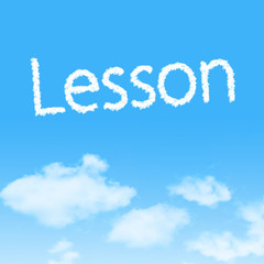 Lesson cloud icon with design on blue sky background