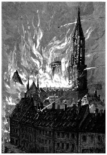 1870 : Bombing Strasbourg - Bombardement - 19th century