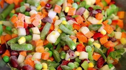 Frozen vegetable mix on frying pan