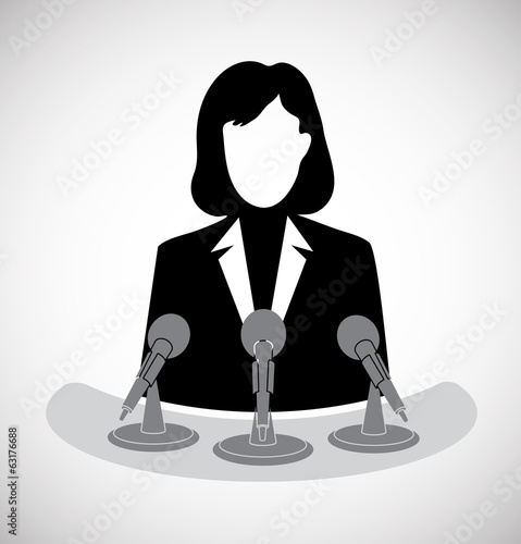 woman journalist before a microphone
