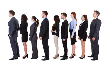 Business people standing in queue