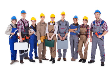 Large group of diverse workers