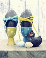 Retro vintage style Happy Easter chocolate eggs
