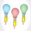 color pencil light bulbs illustration design