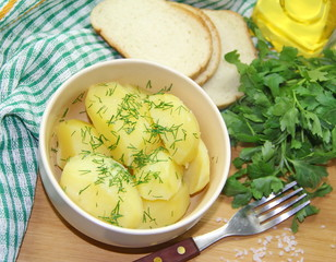 Portion of boiled potatoes