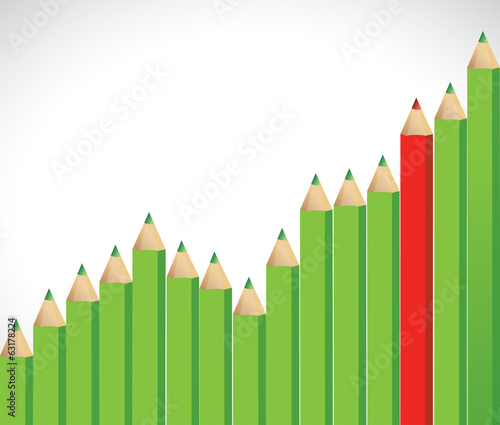 color pencils business graph illustration design