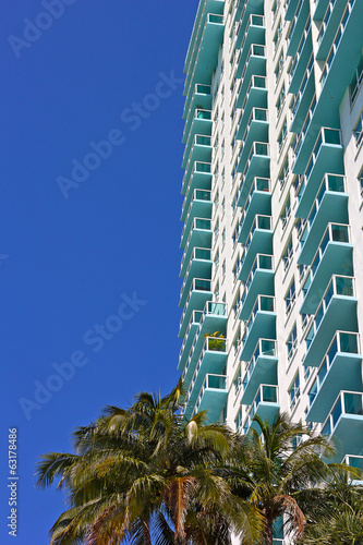 Skyscraper details of building in Miami Beach, Florida.
