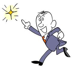 光に向かって走るビジネスマン
