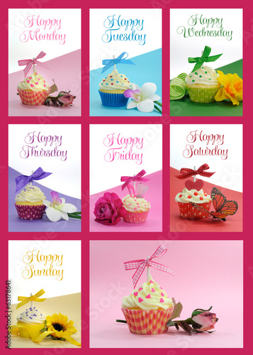 Beautiful collage of cupcakes, one for each day of the week
