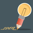 pencil lightbulb write idea word