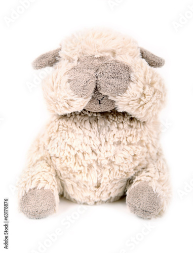 Toy lamb, has closed eyes. Old handwork