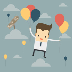businessman fly with balloon to success way