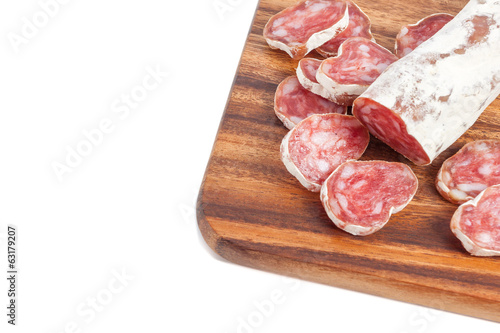 salami sausage on wooden board
